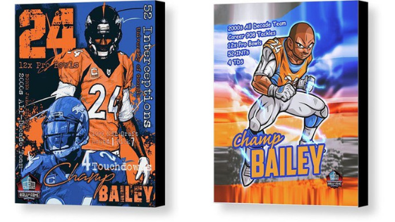 Champ Bailey Hall of Fame Canvas